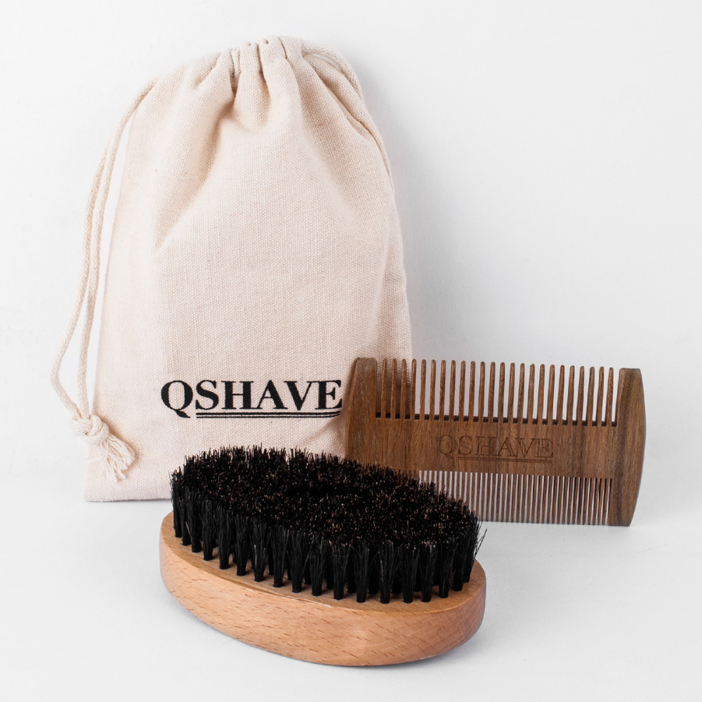 QSHAVE Natural Boar Bristle Beard Shaving Brush Mustache Men's Beard Brush Facial Hair Beard Care Tool 10.8cm, 1 Brush & 1 Comb