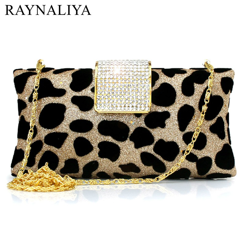 Women Leopard Pattern Clutch Evening Gold/Silver With Crystals Fashion Clutch Bag Handbag Wedding Bridal Prom Purse SMYCY-E0058 купить