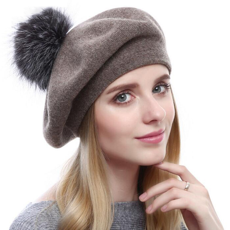 New Arrival Women Winter Cashemere Beret Hat Lady Warm Fur Pompom Hat Female Wool Knitted Beret