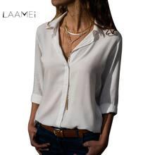 e5436dabb78 Laamei Womens Tops And Blouses 2018 Spring Autumn Turn Down Collar Button  Long Sleeve Ladies Top Shirts Blusa Feminina Plus Size