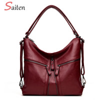 New Women Bags Soft Leather Hobos Female Handbags Fashion Three Zipper Shoulder Bags Ladies High Quality Designer Bags ForWomen
