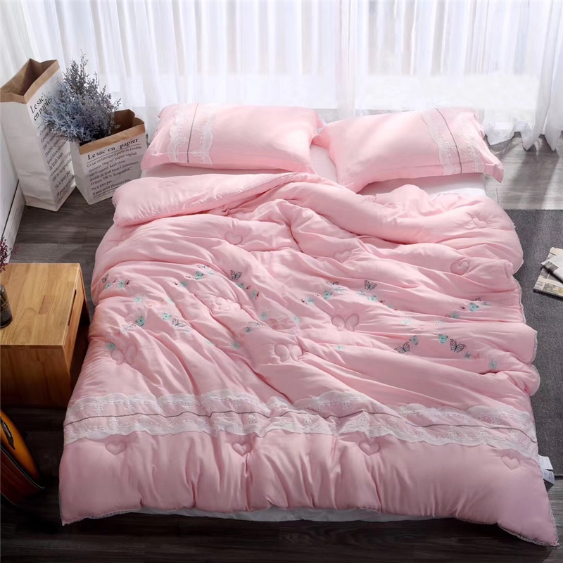 luxury nordic style very soft lace quilt embroidery tencel napping warm comforter for winter. Black Bedroom Furniture Sets. Home Design Ideas