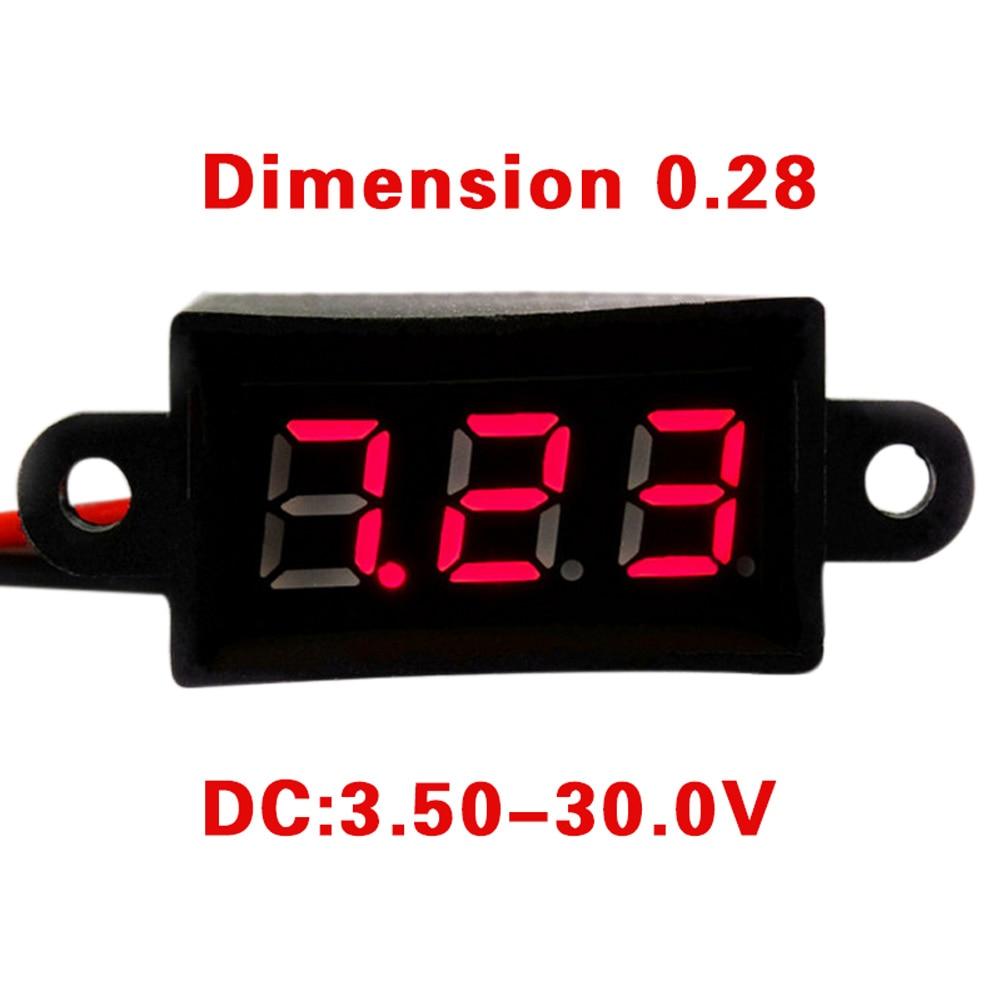 Mini Digital Voltmeter DC 3.50-30V 2 Wires Vehicles Motor Voltage Panel Meter LED Display Tool CLH