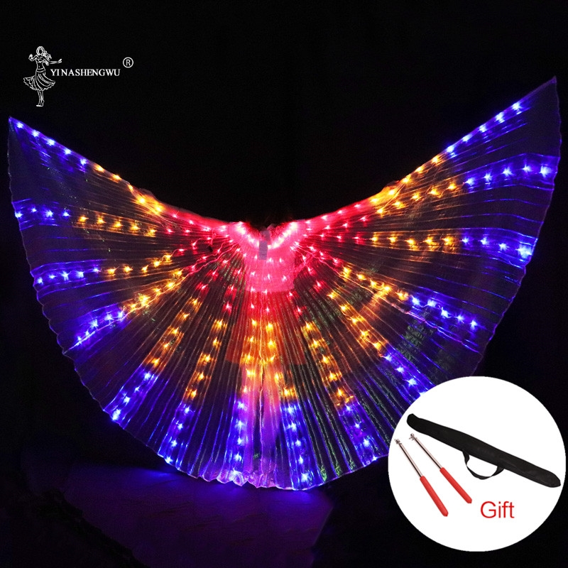 Women LED Light Isis Wings Belly Dance Costumes 360 Degree Sticks Stage Performance Belly Dance Colourful Wings With Sticks
