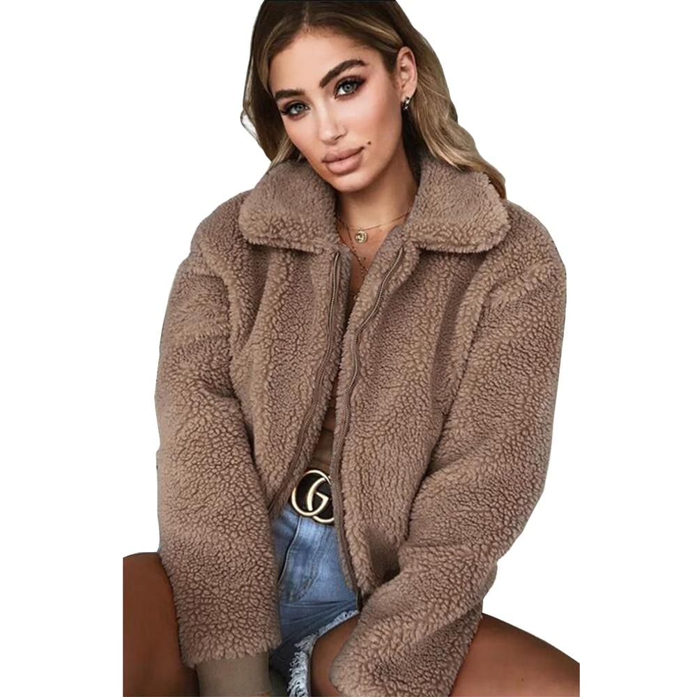 check out buy cheap outlet store Faux Fur Coat Women Teddy Coat Jacket Soft Plush Jacket Black ...