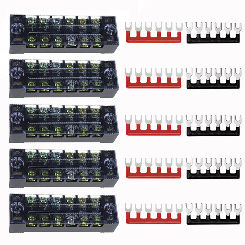 Poles 6-Points Auto Marines Power Distribution Bus Bar Terminal Block Set