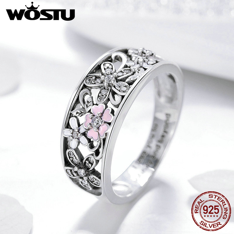 WOSTU Real 925 Sterling Silver Sparkling Stackable Flower 4mm Finger Rings For Women Silver Jewelry Party Wedding Gift FIR390