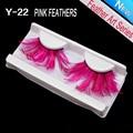 1Pair Pink feathers 3d false eyelash extensions individual fake eyelashes extension Masquerade Stage artistic exaggeration Art