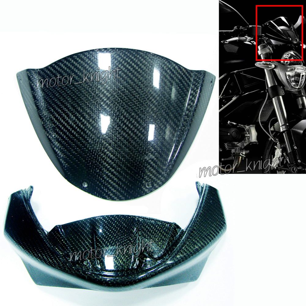 Carbon Fiber Head Cowl Windscreen Nose Fairing Instrument Head Fairing For Ducati Monster 696 1100 796 1100S 795