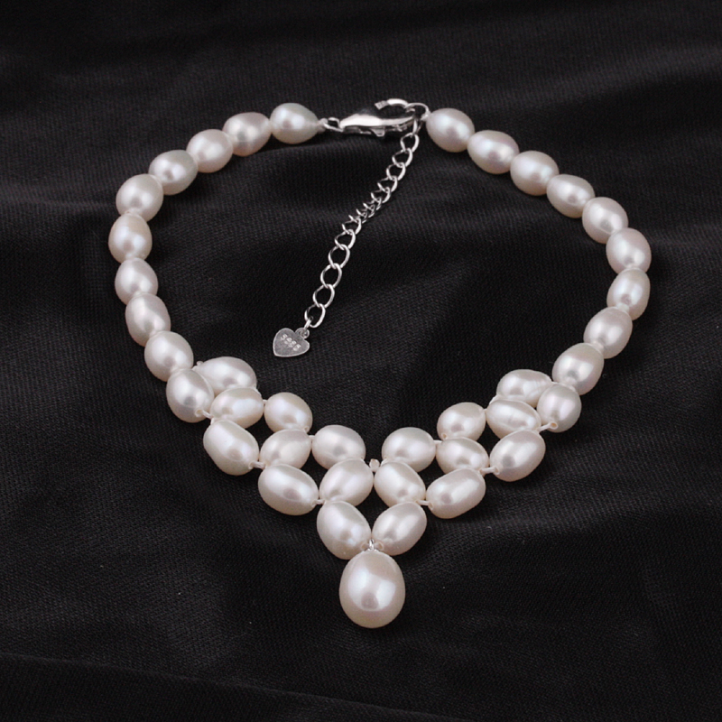 [MeiBaPJ]2018 Fashion Natural Freshwater Pearl Hand Knitte Jewelry Sets S925 Silver Fine Party And Wedding Charm Jewelry
