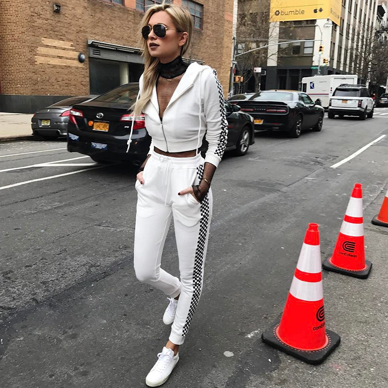 все цены на Autumn Winter Sport Suit Women Tracksuits White Plaid Pullover Top Shirts Running Set Jogging Suits Sweat Pants 2pcs Sportswear