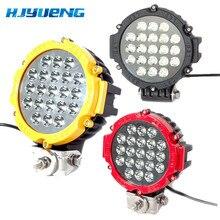 1PCS Zwart/Rood/Geel offroad Led verlichting 7inch 63w Led Rijden Licht Spot Beam voor atv suv 4x4 vrachtwagen voertuig