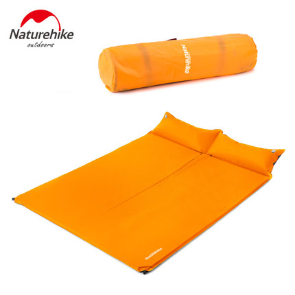 ФОТО Naturehike Automatic Inflatable Camping Mat Folding Sleeping Pad  Mattress Dampproof Cushion Airbed Set with Pillow for 2Person