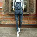 Bib denim overalls for men 2016 Brand long solid blue slim cowboy overall cotton skinny overalls men's jeans Size 28-34MB16296
