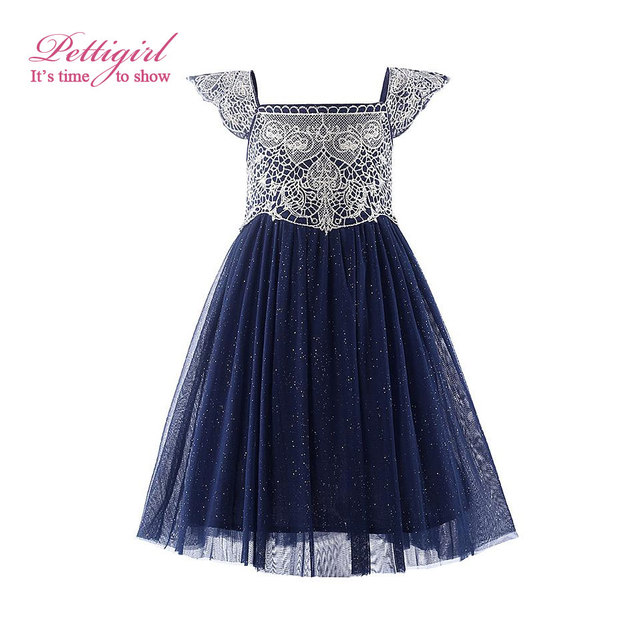 Pettigirl 2019 New Summer Navy Pink Tulle Girls Dress With Exquisite Embroidery Lace Top Grace Classic Kids Dress Children Wear