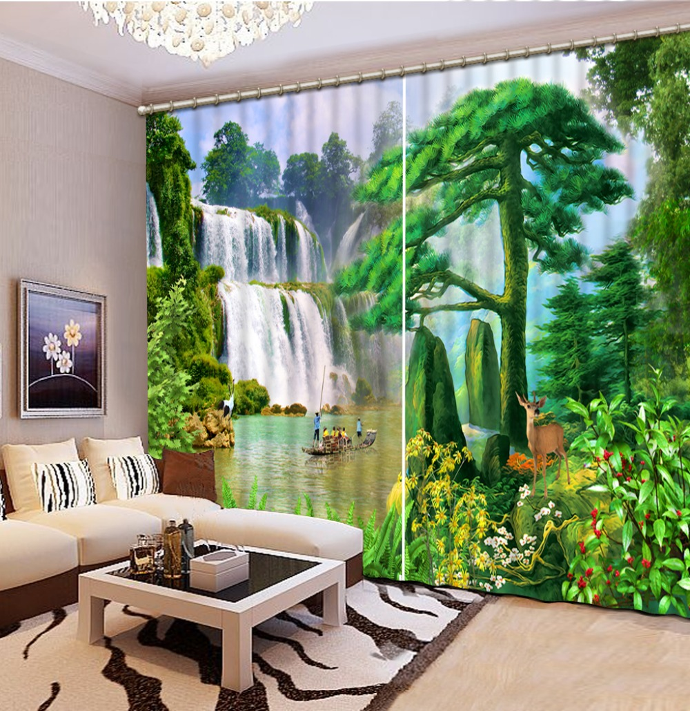 custom 3d curtains for living room kitchen Waterfall landscape 3d blackout window curtains luxury curtains 3d stereoscopic