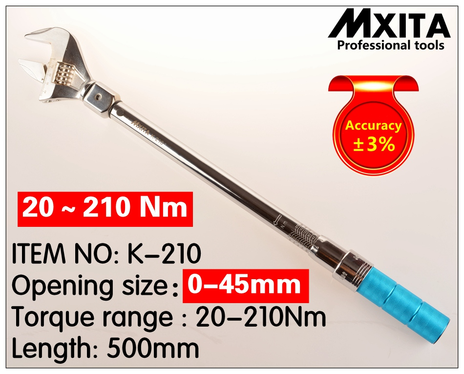 MXITA OPEN wrench Adjustable Torque Wrench 20-210Nm Interchangeable accuracy 3% 0-45mm Insert Ended head Torque WrenchMXITA OPEN wrench Adjustable Torque Wrench 20-210Nm Interchangeable accuracy 3% 0-45mm Insert Ended head Torque Wrench