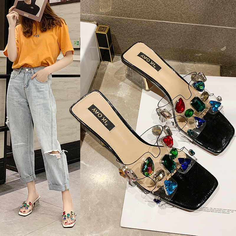 Summer New Women Slides Shoes 2019 Fashion Transparent High Heels Jelly Shoes Crystal Rhinestone Slippers Fashion SandalsSummer New Women Slides Shoes 2019 Fashion Transparent High Heels Jelly Shoes Crystal Rhinestone Slippers Fashion Sandals
