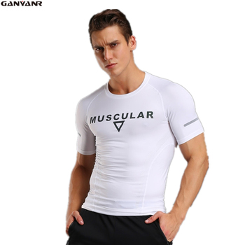 GANYANR Brand Running T Shirt Men Sport Suit Spandex Dry Fit Athletic Short Sleeve Sportswear Training Gym Solid Quick Dry 2017