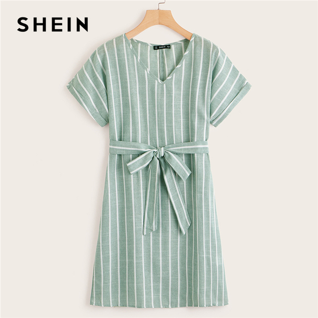 SHEIN V Neck Vertical Striped Belted Dress 2019 Elegant Green Pastel Short Sleeve Summer Women Tunic Straight Dresses 5