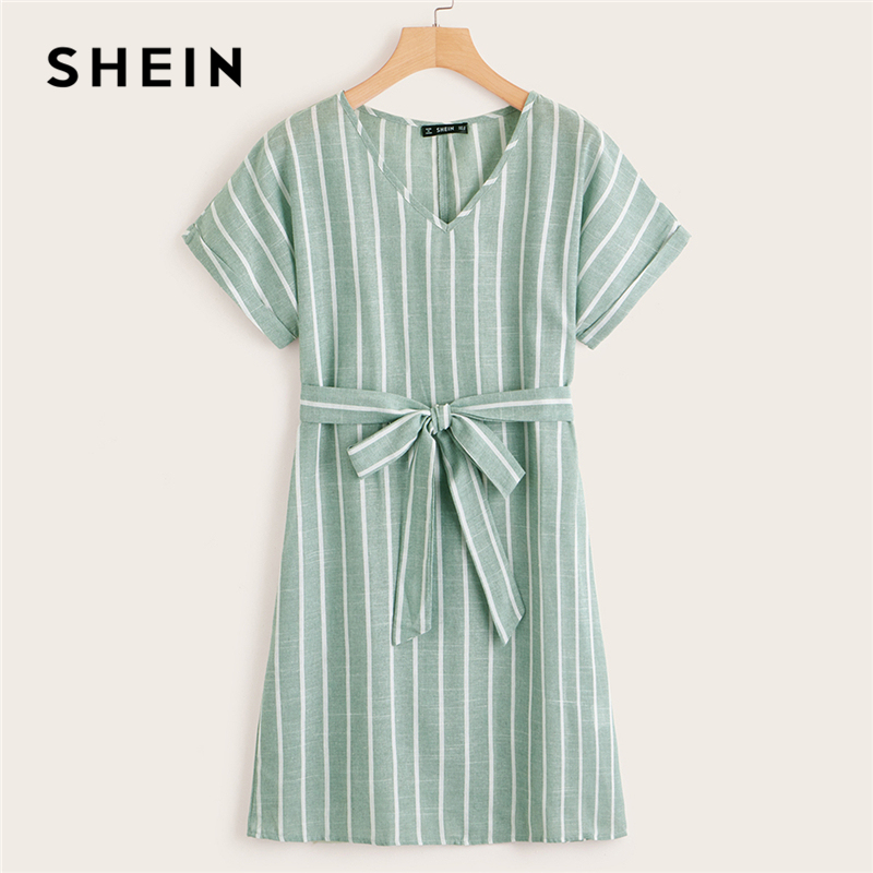 f3adeaab446bf SHEIN V Neck Vertical Striped Belted Dress 2019 Elegant Green Pastel Short  Sleeve Summer Women Tunic Straight Dresses