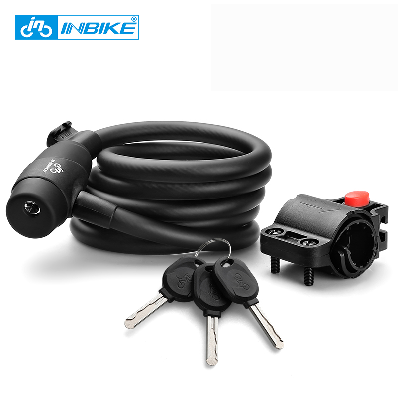 INBIKE Bike Lock 1.8m 1.4m Bicycle Cable Lock Anti-theft Lock with 3 Keys Cycling Password Security Steel Wire Coded Locks 16719