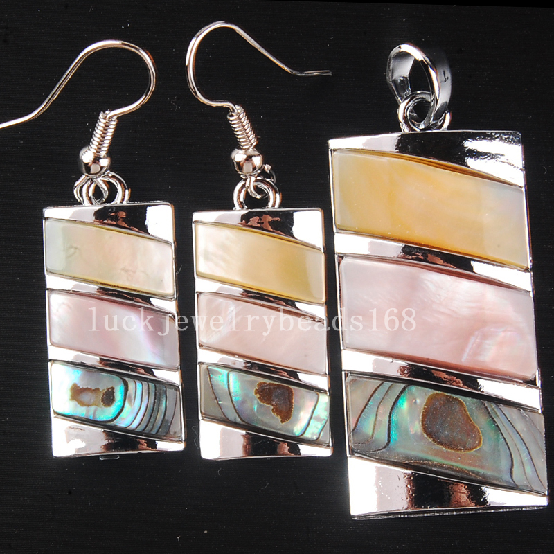 Free Shipping Fashion Jewelry Beautiful Multicolor Mother of pearl New Zealand Ablong Shell Oblong Pendant Earrings Set C4321