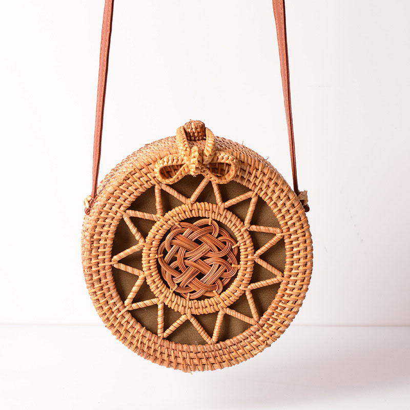Holiday Summer Vintage Handmade Rattan Bags Straw Woven Ladies Stars Hollow Bow Shoulder Bag Weaving Beach Handbags B429 2