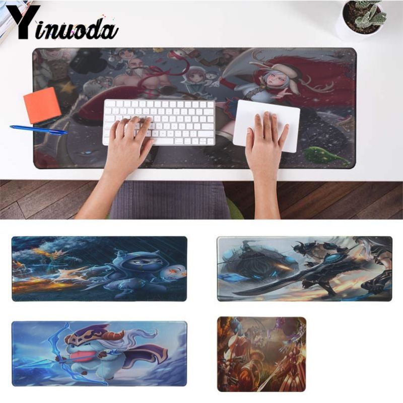 Yinuoda Custom Skin Ashe The Frost Archer Kennen DIY Design Pattern Game Large Gaming Mouse Pad Locking Edge Non-Slip Mouse Mat image