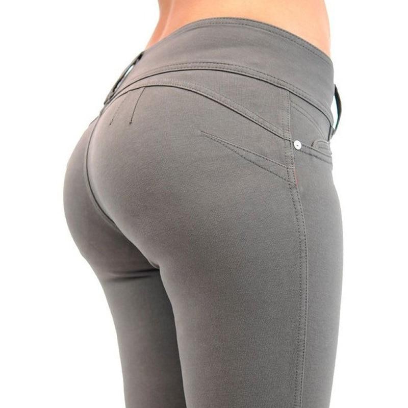 Moda Primavera Calças Lápis Mulheres Botão 2019 Mid Cintura Elástica Calças Skinny Sólidos Zipper Calças Femininas Magro Cinza Preto Azul