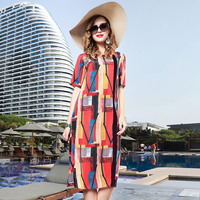 Summer Dress 100% Silk Printed 2018 Women's New High Quality Plus Size Loose A Line O Neck Short Sleeved Casual Dress Midi M 3XL