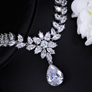 Image 3 - CWWZircons Elegant Women Wedding Jewellery African CZ Crystal Leaf Drop Bridal Necklace Bracelet and Earrings Jewelry Sets T294