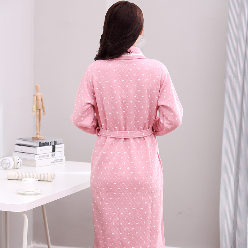 c81ccb5e03 Knitted Cotton Quilted Bathrobe Women Autumn Winter Sexy Kimono Sleeping  Robe Long Sleeve Ladies Solid Elegant Night Gown -in Robes from Underwear  ...
