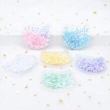 6Pcs 6cm Transparent Plastic Cat with Colorful Sequins Inside Appliques DIY Headwear Accessories Craft Handmade Decor Patch H28