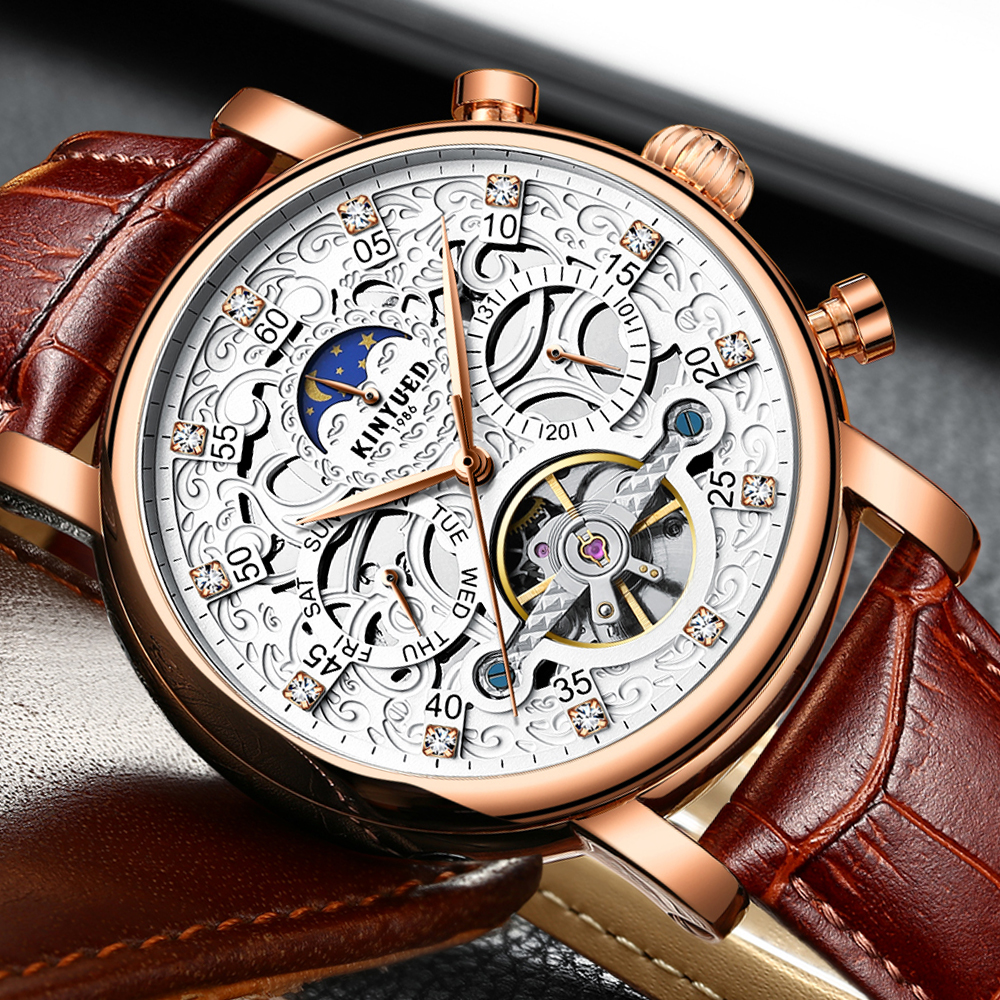 KINYUED Men Watch Automatic Moon Phase Calendar Tourbillon Mens Skeleton Mechanical Watches Gold Leather Military Wrist watch