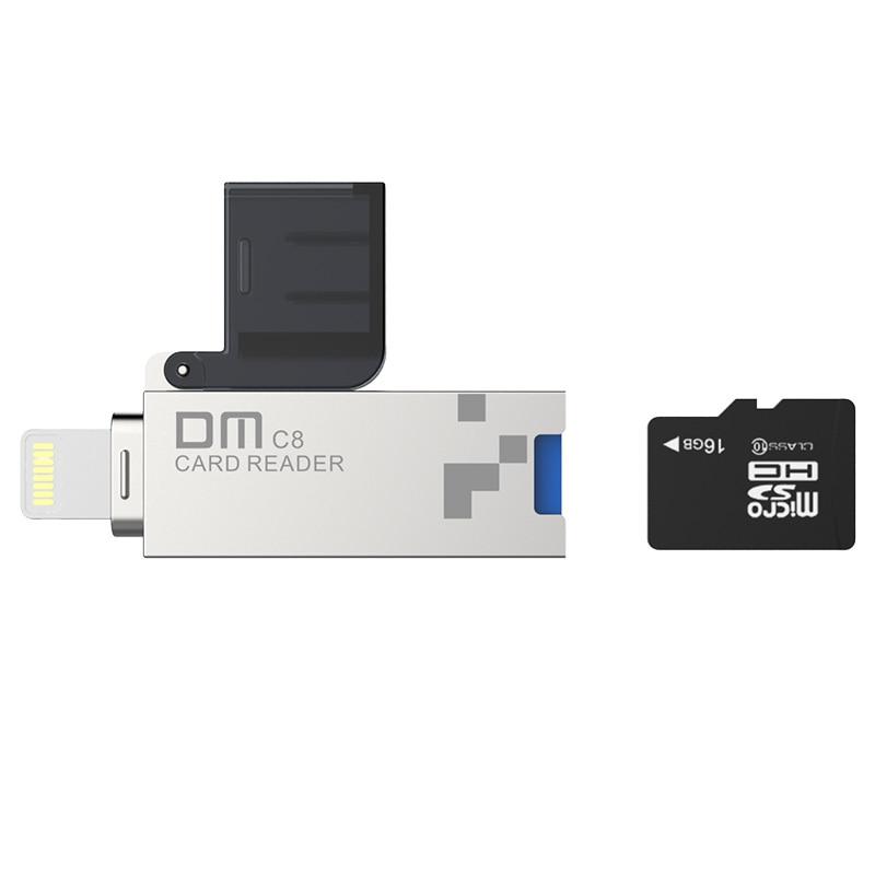 DM CR008 Lightning Micro SD/TF OTG lector de tarjetas USB 3.0 memoria mini lector de tarjetas para iPhone 6/7 /8 más iPod iPad OTG lector de tarjetas