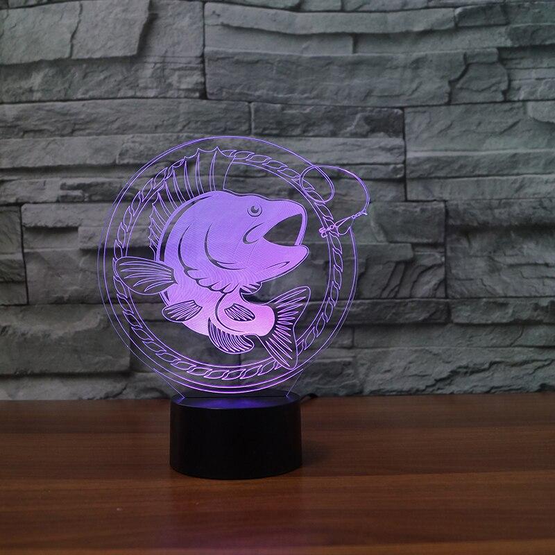 7 цветов Изменение 3D светодиодный сенсорная кнопка рыбы настольная лампа USB ночник удивительные подарки для детей любителей рыбалки Украше...