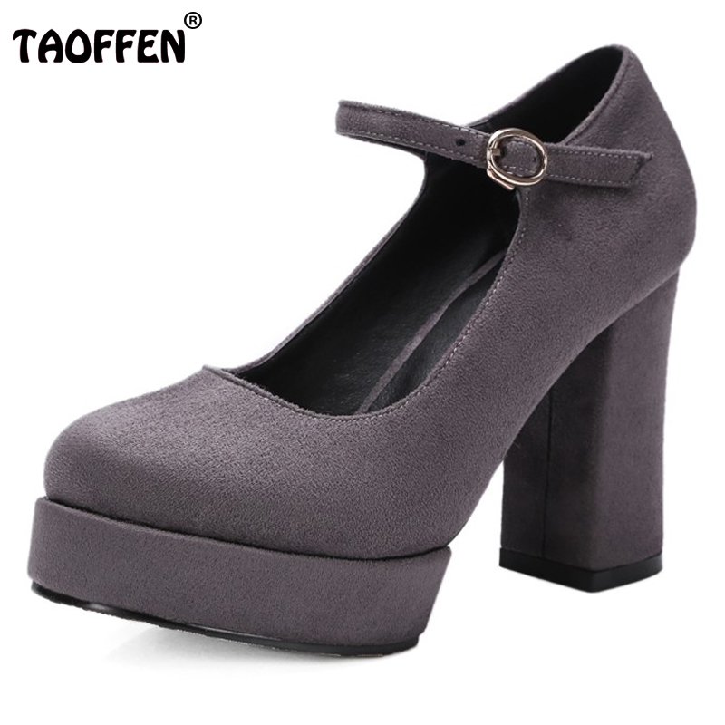TAOFFEN Women Shoes Ankle Strap Square Super High Heel Ladies Party Vintage Sexy Round Toe Shoes New Brand Footwear Size 32-42 taoffen women high heel shoes woman sexy transparent heels sandals ladies ankle strap party wedding shoes footwear size 31 47