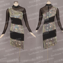 Hot-sale,Rumba Jive Chacha Latin Dance Dress,ballroom dress,dance wear,latin dress ,Black,Girls WomenCompetition Latin dance dre