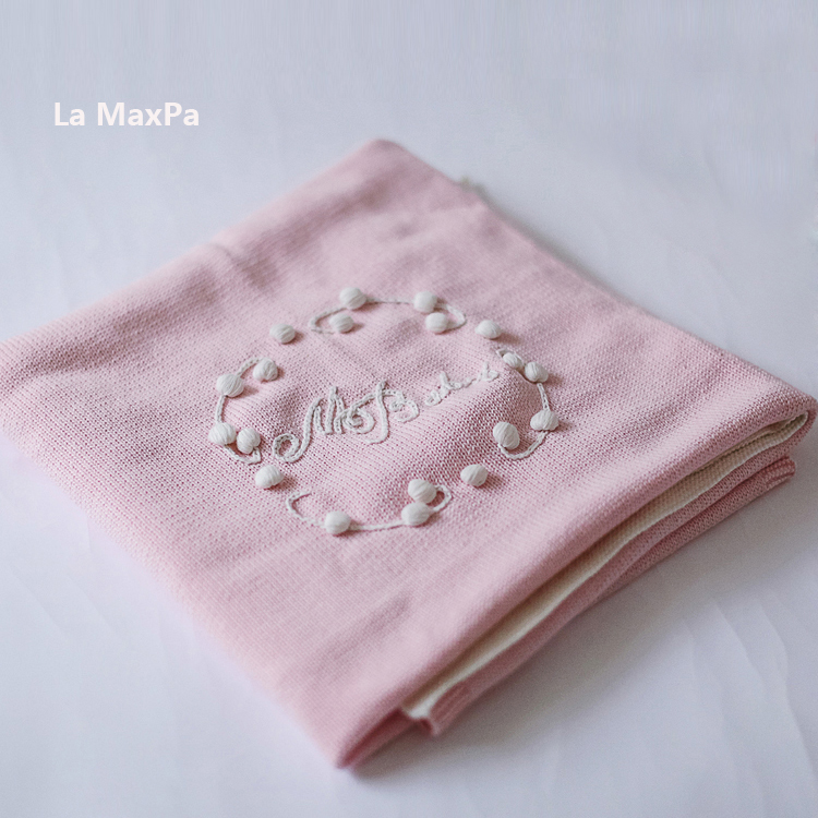 100*100cm Children's embroidery Cotton Knitted flower Super Soft Blanket Newborn Baby Blanket Swaddling 100