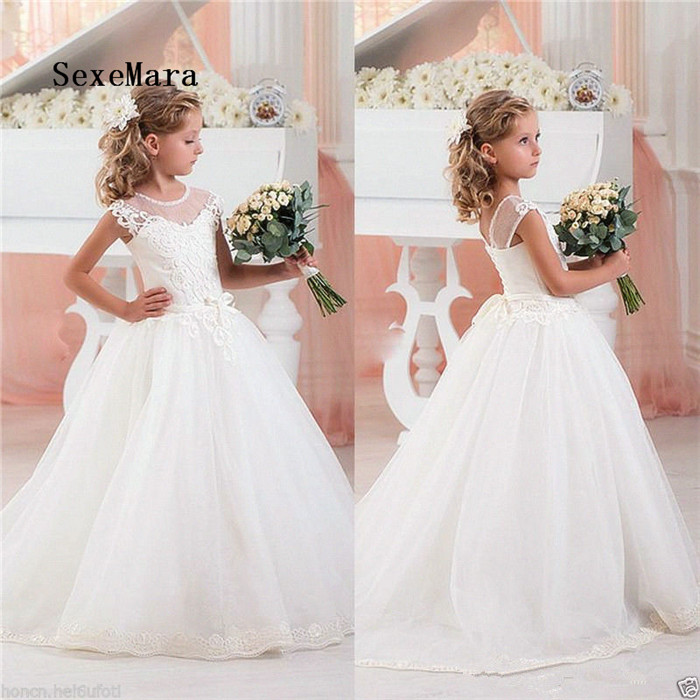 Cute White Ball Gown Flower Girls Dresses for Wedding Puffy Tulle Lace Pearls Kids Princess Birthday Party Communion Gown  Cute White Ball Gown Flower Girls Dresses for Wedding Puffy Tulle Lace Pearls Kids Princess Birthday Party Communion Gown