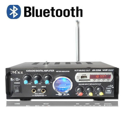 AV-399A amplificateur Bluetooth Home cinéma Kara OK amplificateur avec double microphone/carte USB/FM radio 220 V 80 W + 80 W