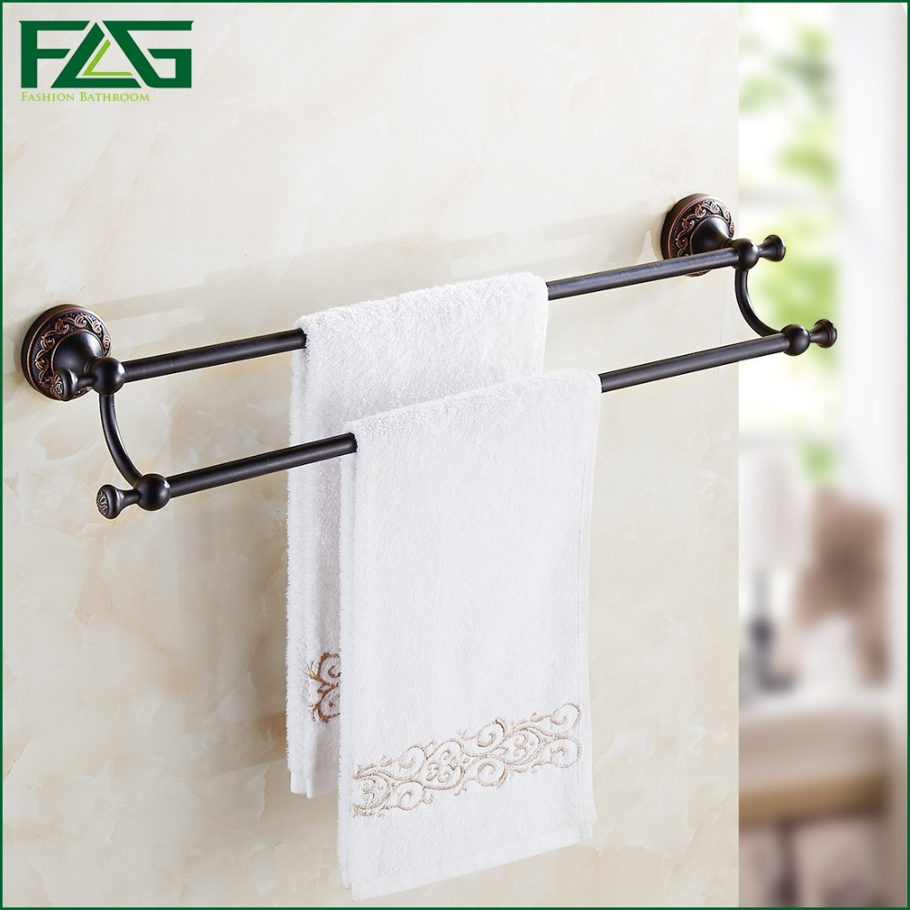 Free Shipping Wall Mounted Bathroom Accessories Oil Rubbed Bronze Black Double Towel Bar Towel Holder Bathroom Hardware 91309 free postage oil rubbed bronze tooth brush holder double ceramic cups holder