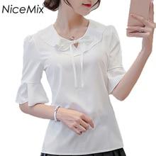 NiceMix 2019 Summer Sweet Blouse Women Chiffon Blusas Casual Loose Female Shirt Lacing Ruffles Tops Vetement Femme