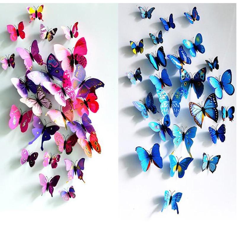 Hot wholesal 12pcs/set 3D wall stickers butterfly fridge magnet wedding decoration home decor fridge sticker decor 6zcx430