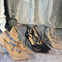 Free shipping fashion Pumps lady Designer Brand New Nude black mesh crystal Criss Cross point toe shoes 10cm wedding shoes criss cross block heeled pumps
