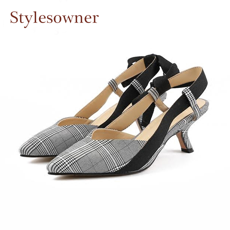 Stylesowner 2018 new fashion pointed toe kitten heel women pumps slingback bowtie elegant lady plaid spring summer shoes sandals new fashion woman flats spring summer women shoes top quality strappy women sandals suede pointed toe gladiator ballet pumps