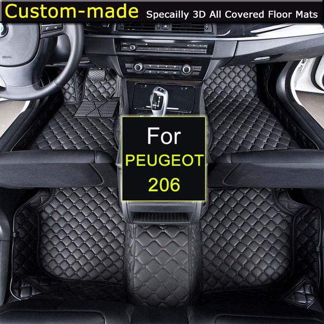 For Peugeot 206 Car Floor Mats Customized Foot Rugs 3D Auto Carpets ...