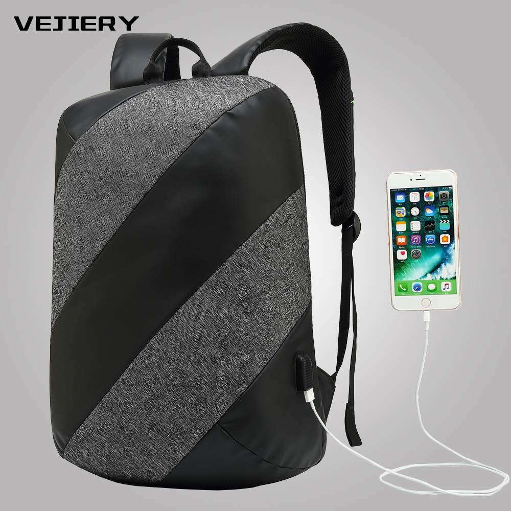 VEJIRY Men's Backpack Fashion Multifunction USB Charging Men 15inch Laptop Backpacks Anti Thief Travel Business Bag For Men