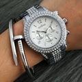 New 2017 Fashion Casual Clock Silver Bracelet Watch Women Rhinestone Watches Women's elegant Quartz Wrist Watch relojes mujer